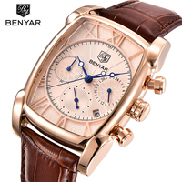 BENYAR Men Watch Men Waterproof Leather Rectangle Gold Quartz Wrist Wristwatch Golden Male Clock Relogio Masculino