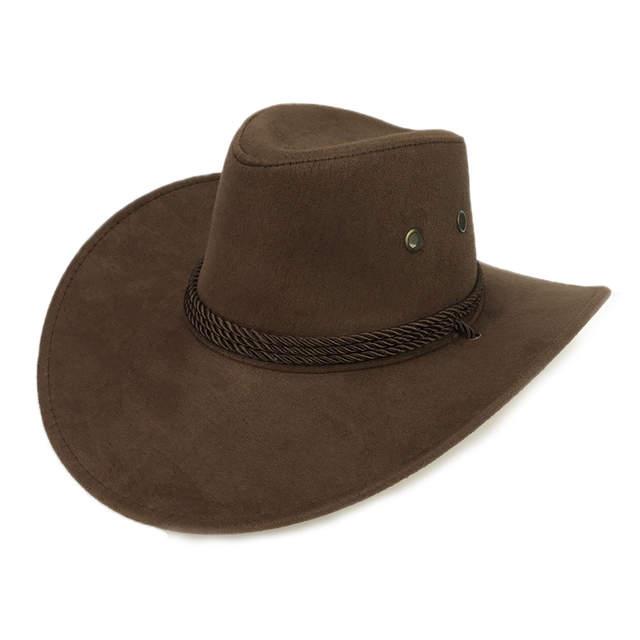 31984e9dd US $7.03 12% OFF|New 2018 Sun Hat Faux Leather Cowboy Hat Men and Women  Travel Caps Fashion Western Hats Chapeu Cowboy 9 colors YY0270-in Men's  Cowboy ...