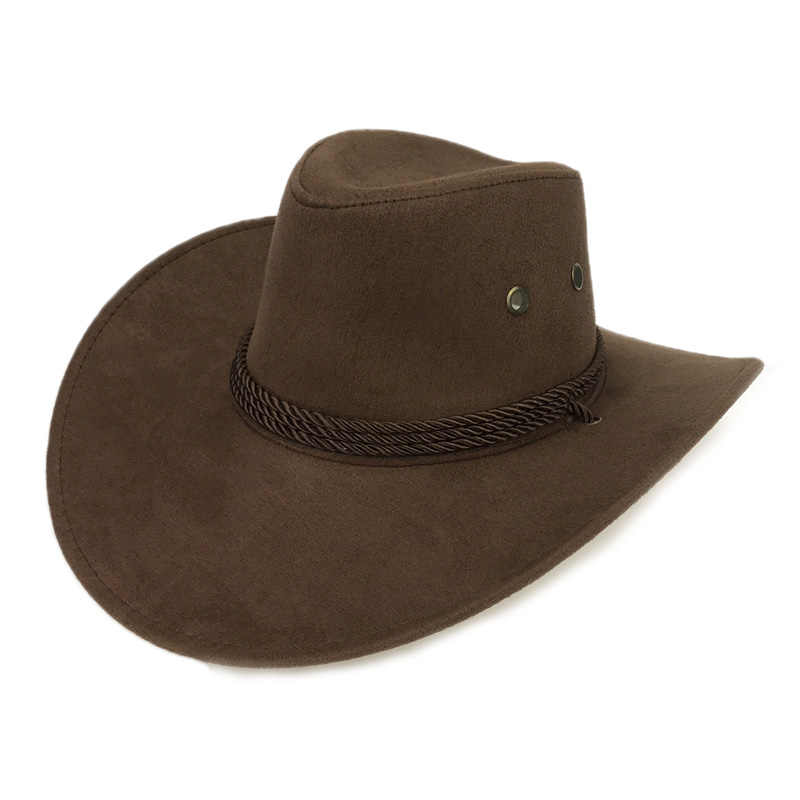 ... New 2018 Sun Hat Faux Leather Cowboy Hat Men and Women Travel Caps  Fashion Western Hats ... 40cc12a6c85f