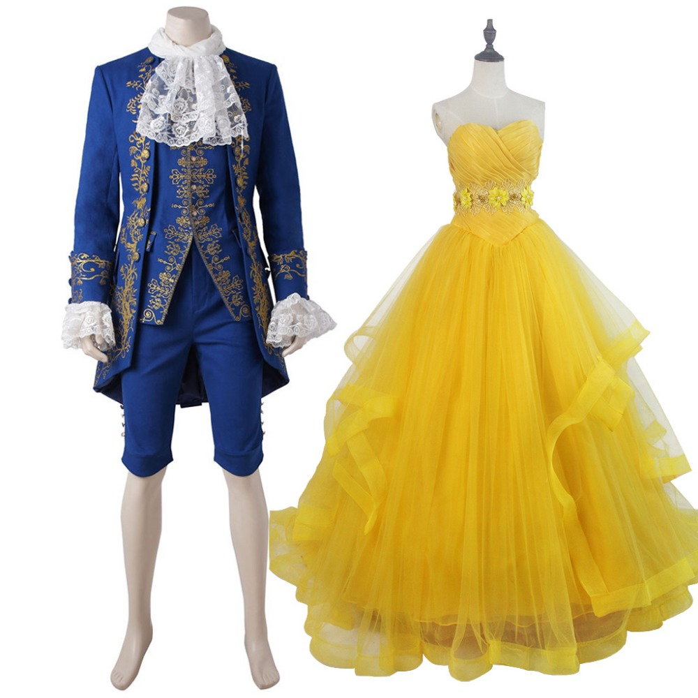 2017 Beauty and the Beast Belle Princess Yellow Dress The Beast Prince Blue Outfit Cosplay For Party