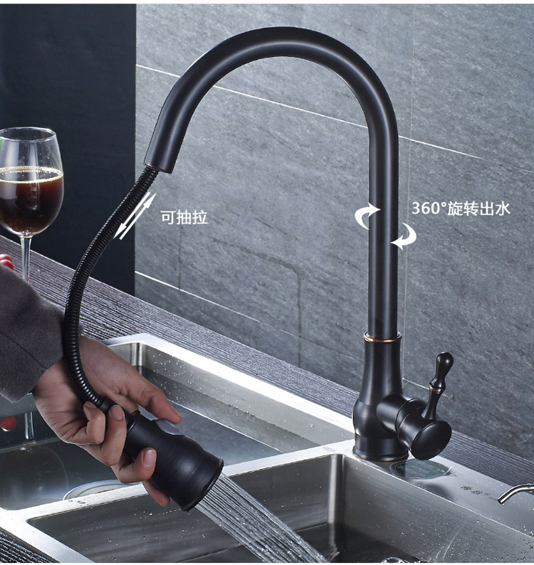 Electroplate Silver Kitchen Faucets Brass Brushed Black Basin Faucet Pull Out Single Handle Single Hole Mixer Taps Hot Cold micoe hot and cold water basin faucet mixer single handle single hole modern style chrome tap square multi function m hc203