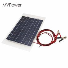 MVpower Portable 18V 10W Solar Panel Bank DIY Solar Charger Panel External Battery for Car with Crocodile Clips Outdoor Power