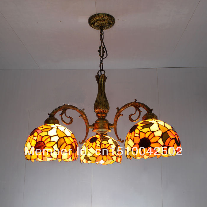 Tiffany Pendant Lamps Creative Art Sunflower Stained Glass Living room lamps  Corridor Light Bedroom Lamp DIA 56 CM H 65 CM tiffany baroque retro stained glass pendant light restaurant bedroom living room corridor porch lamp
