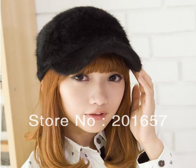 mink fur baseball cap faux caps fashion hats rabbit women winter warm accessories fox pom