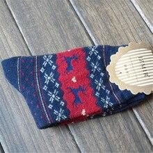 1Pair Winter Women Socks Keep Warm Christmas Gift Mid-calf Socks Snowflake Deer Comfortable Soft Sokken Calcetines Mujer