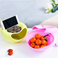 Food Multifunctional Plastic Double Layer Dry Fruit Containers Snacks Seeds Storage Box Garbage Holder Plate