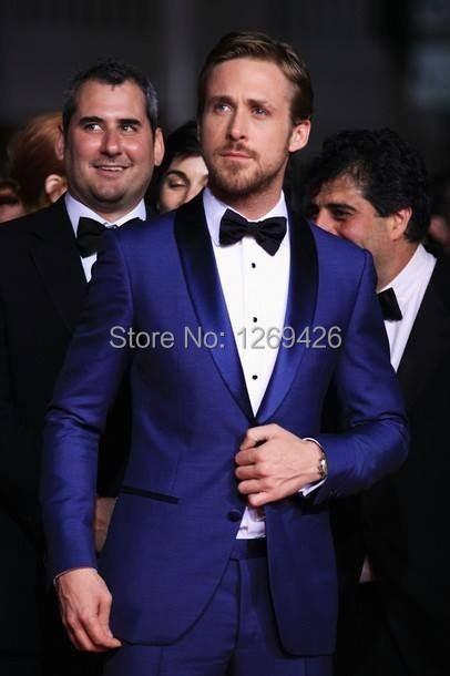2016 Homens da Forma Ternos de negócio dos homens Ternos de casamento dos homens ternos com calças slim fit moda azul dos homens do noivo smoking jacket + calça + gravata