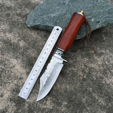 High hardness VG10 Damascus knife self-defense wild jungle to straight knife not folding knife collection of outdoor survival