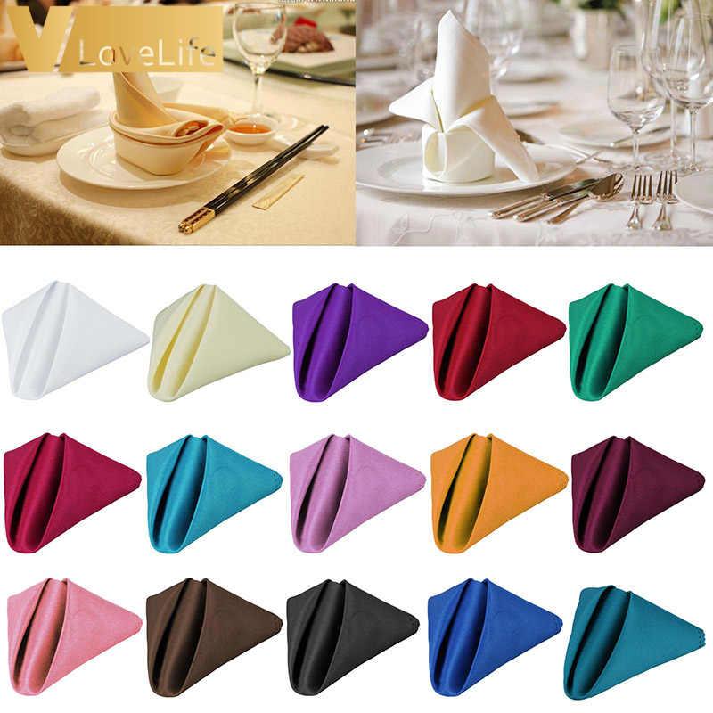 1PC 30cm Table serviette en lin serviette Polyester carré tissu poche mouchoir pour décoration de mariage événement fête hôtel maison