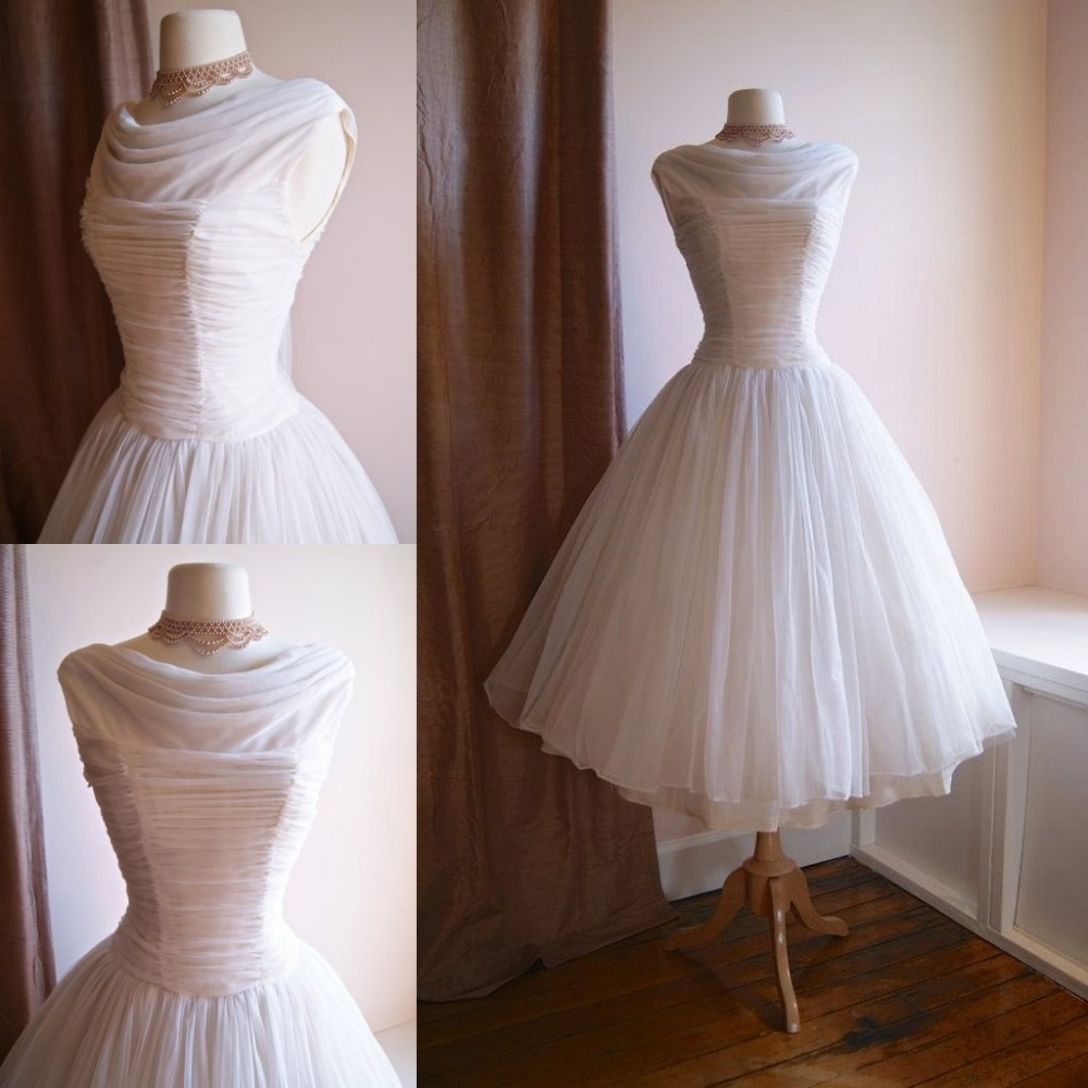 Popular 1950s tea length wedding dress buy cheap 1950s tea for Vintage summer wedding dresses