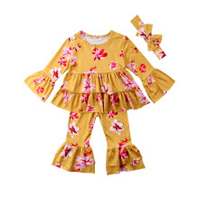 77bf80a1b3c2e1 2018 new Toddler Kid Baby Girl Floral Ruffle Dress Tops T shirts Wid Leg Pants  Outfit Set fashion summer long sleeve cute CH