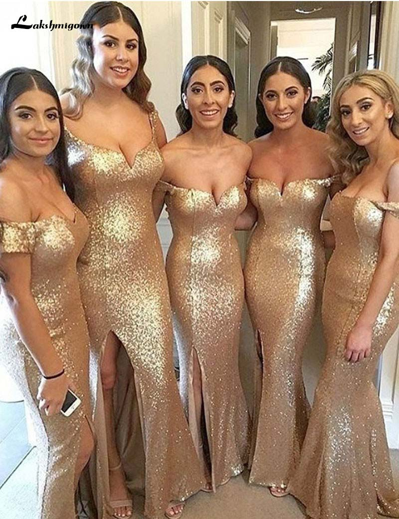 Gold Sequins Bridesmaid Dresses Long Mermaid Sparkly Prom Dresses Sweetheart Off The Shoulder Leg Slit Wedding Party Dresses