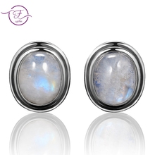 Natural 8x10MM Moonstone 925 Sterling Silver Stud Earring For Women Vintage Jewelry Engagement Party Anniversary Gift Wholesale top brand vintage ring for women 925 sterling silver jewelry high quality moonstone party anniversary wedding engagement gift