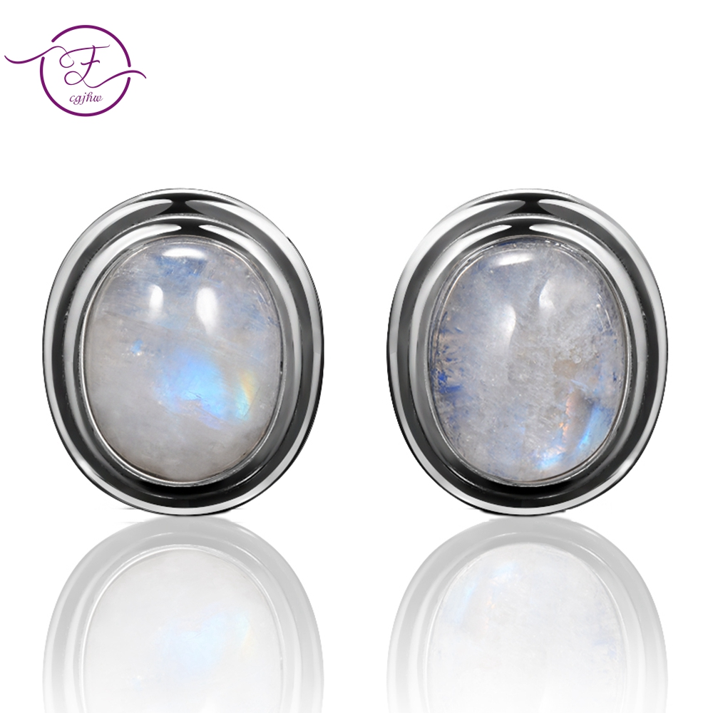 Natural 8x10MM Moonstone 925 Sterling Silver Stud Earring For Women Vintage Jewelry Engagement Party Anniversary Gift Wholesale title=