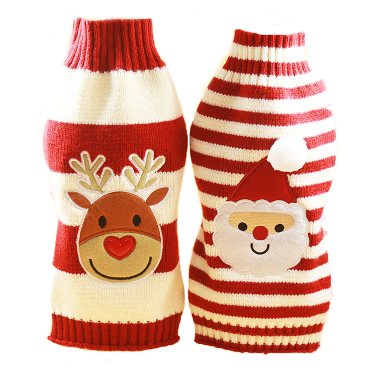 5 Size Knitted Dog Clothes Winter Warm Dog Sweater Christmas Santa Claus/Reindeer Costume Puppy Jumper Coat 10 ...