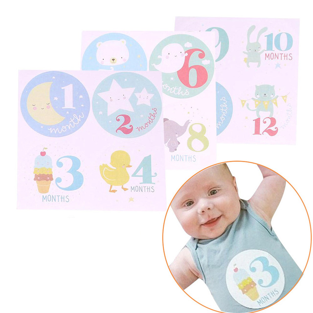 1 set new personalized baby girls boys monthly stickers 1 to 12