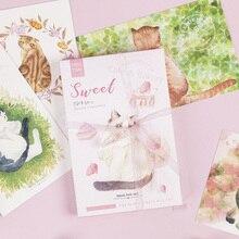 цена 30 Pcs/lot Cute Cartoon Sweet Cat  With Ribbon postcard set Greeting Card Envelope Gift Birthday Card DIY gifts онлайн в 2017 году
