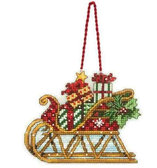 Gold Collection Top Quality popular counted cross stitch kit sleigh ornament christmas ornaments DIM 08914