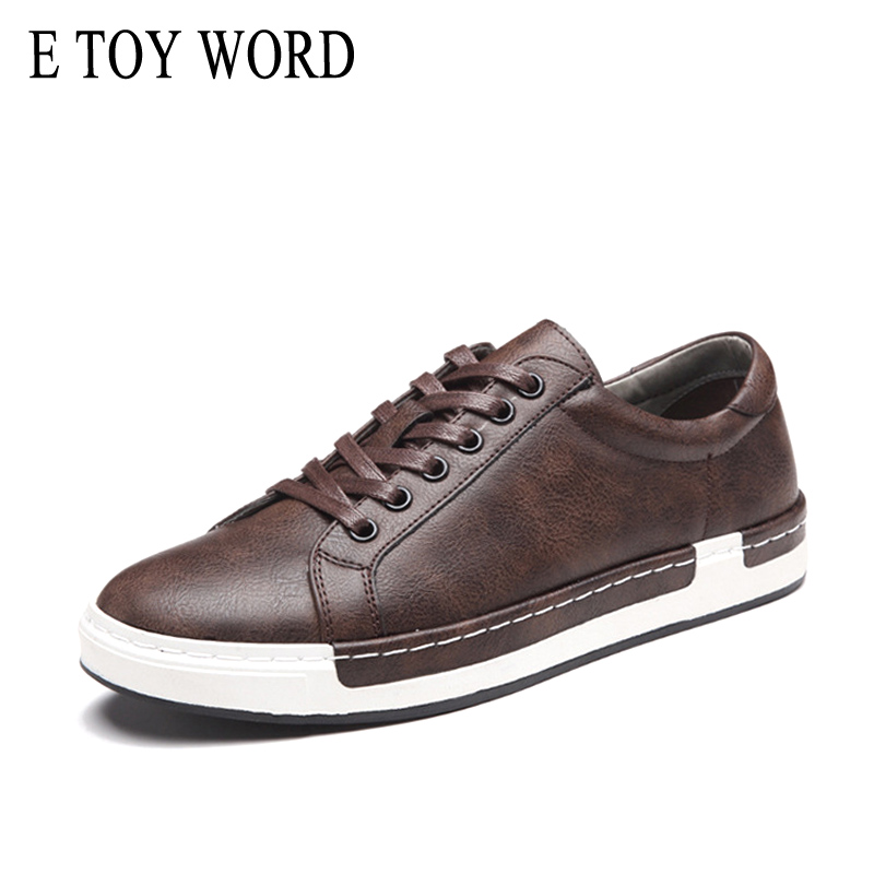 Shoes E Toy Word Men Sneakers Spring Lace Up Flats Male Casual Shoes Vintage Luxury Brown Male Shoes Pu Leather Chaussure Homme