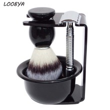 4pc/set Double Edge Safety Shaving Razor Synthetic Beard Brush with Black Acrylic Stand Bowl
