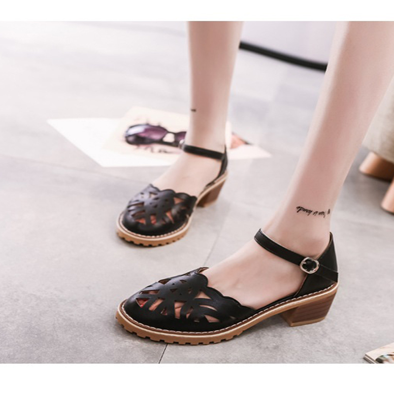 Gladiator Woman Sandals 2018 Summer Style Casual Retro Sandals Woman Hollow-Out Platform Thick Heels Sandalia Feminina gladiator sandals 2017 summer style comfort flats casual creepers platform pu shoes woman casual beach black sandals plus us 8