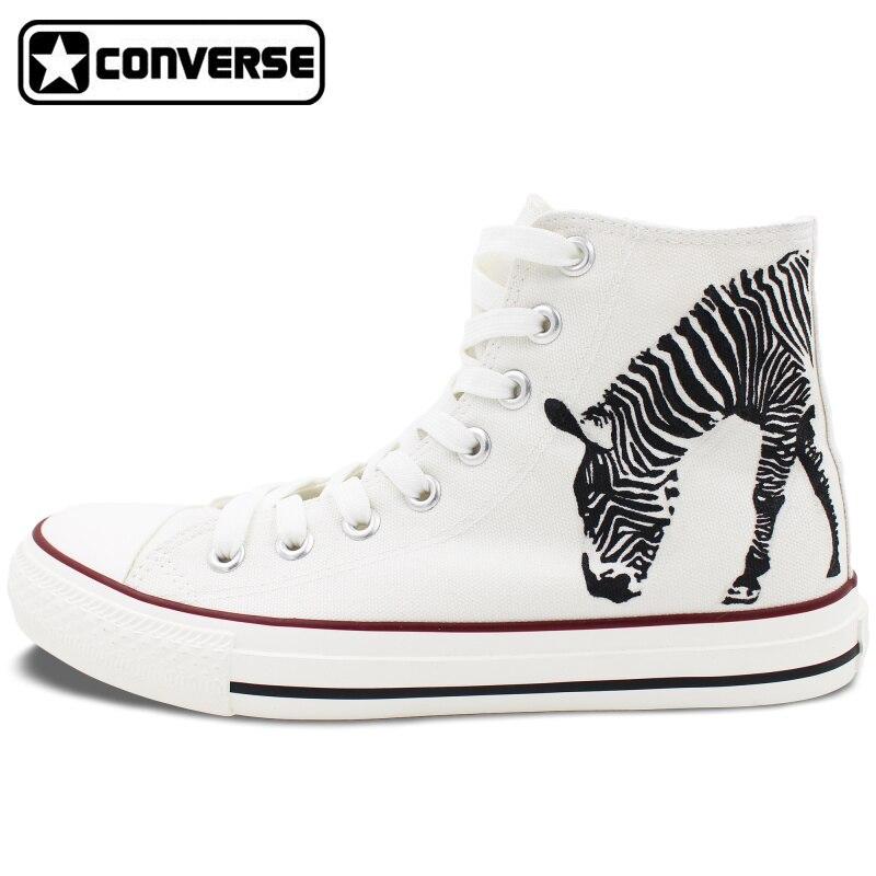 Prix pour Zèbre Peint À La Main Chaussures Converse All Star Blanc High Top Toile Sneakers Custom Design Hommes Femmes Cadeaux De Noël