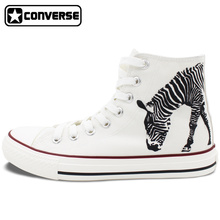 Zebra Hand Painted Shoes Converse All Star White High Top Canvas Sneakers Custom Design Men Women Christmas Gifts
