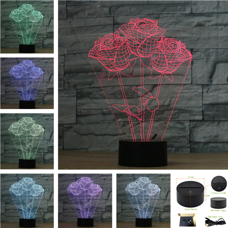AUCD LED Roses Night Light USB Touch Swtich Light Valentine Gift Birthday Holiday Wedding Bedroom Ambient lights -3D-TD259