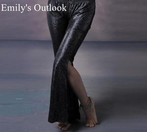Image 4 - Belly Dance Tribal Fusion Women Cotton Garter Pants Stripe Side Slit Belly Dance Trousers M L Black White Maroon Free Shipping