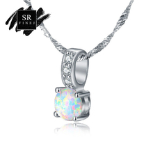 SR:FINEJ Hot Sale Elegant White Fire Opal Pendant Necklace Water Drop Style For Women Fashion Silver 925 Jewelry Accessories(China)