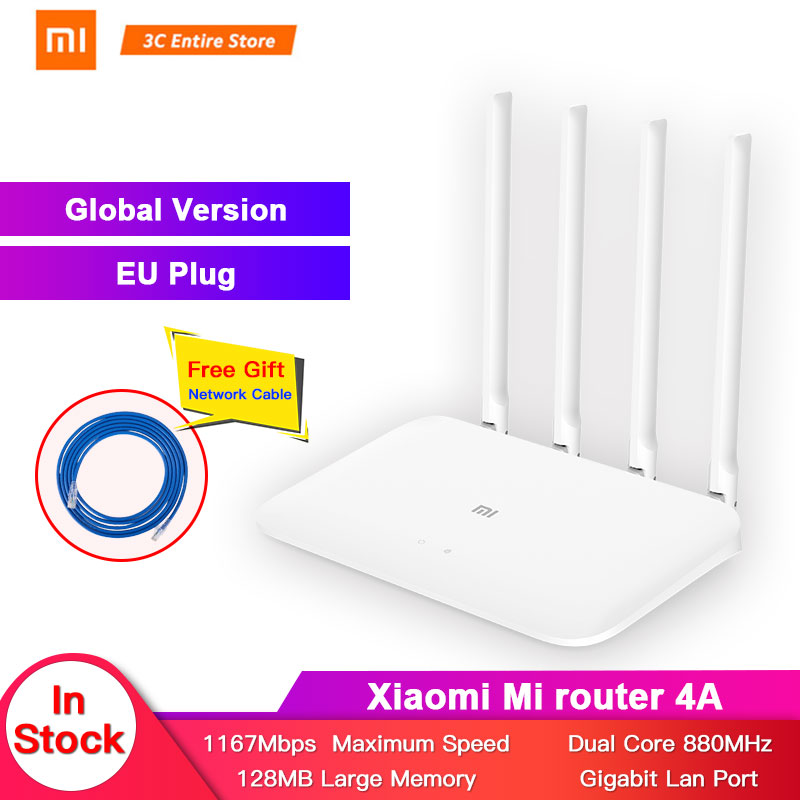 Global version Xiaomi Mi 4A Router Gigabit edition 2.4GHz +5GHz WiFi 16MB ROM + 128MB DDR3 High Gain 4 Antenna APP Control  IPv6Global version Xiaomi Mi 4A Router Gigabit edition 2.4GHz +5GHz WiFi 16MB ROM + 128MB DDR3 High Gain 4 Antenna APP Control  IPv6
