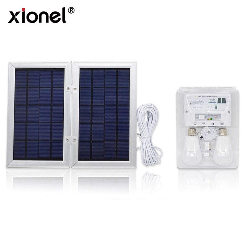 Xionel Solaire Mobile Système D'éclairage Solaire, système Solaire DC Système Kit, 3.7 v Batterie Au Lithium-6 w Pliable Panneau Solaire Accueil Système Kit