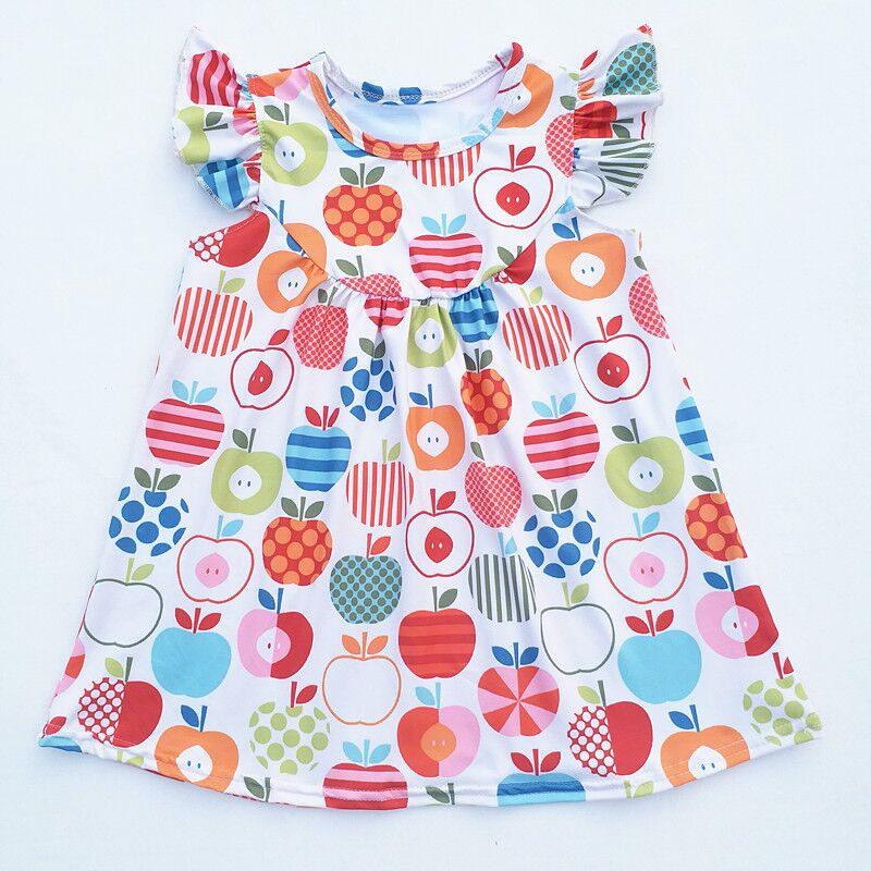 Us 10 99 Baby Girls Summer Dress Girl Back To School Dress Kids Apple Printed Pearl Dress Milk Silk Dresses 2t To 7t Available In Dresses From