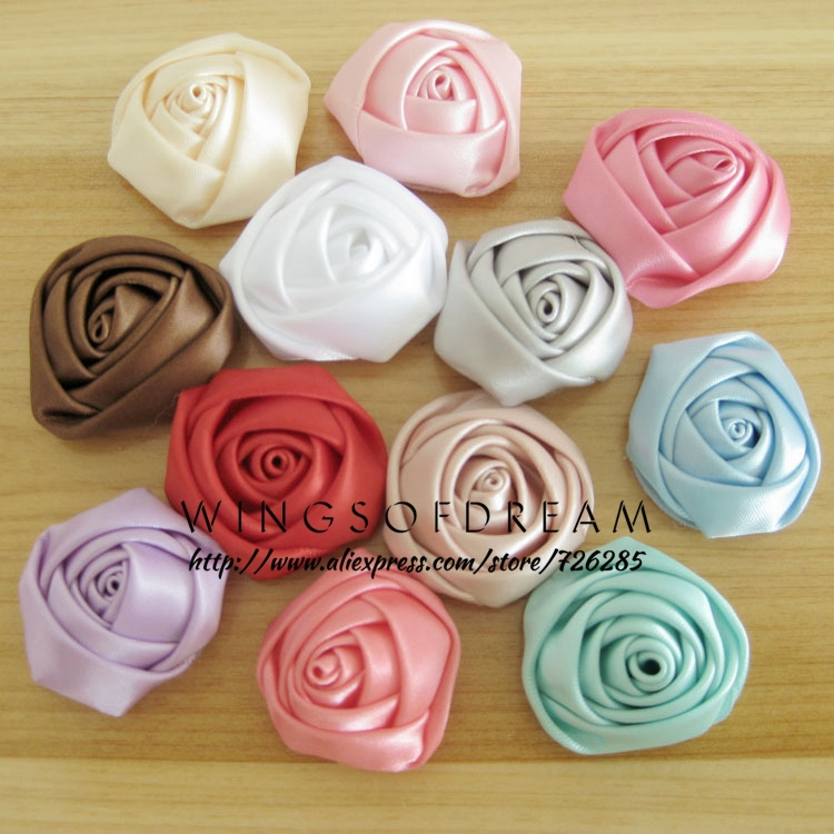 (120pcs/lot)1.4 12 Colors Fashion Silks and Satins Flower Decorations Candy Color Rose Hair Flowers