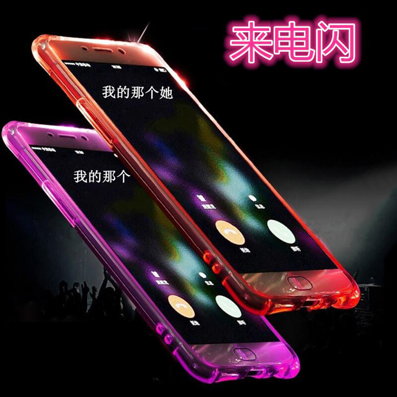 For iPhone 8 7 6S Plus Phone Case Soft TPU LED Flash Light Up Remind Incoming Call Cover for iPhone 7 6 8 Plus X 5 5S SE Cases