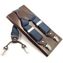 Man Suspenders 4 Clips Braces Elastic Adjustable Suspensorio Bretelles Tirantes Casual Trousers ligas 3.5*120cm