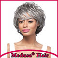 Medusa hair products: Voluminous shag styles Synthetic pastel wigs for women Modern Short curly Mix color wig with bangs SW0470