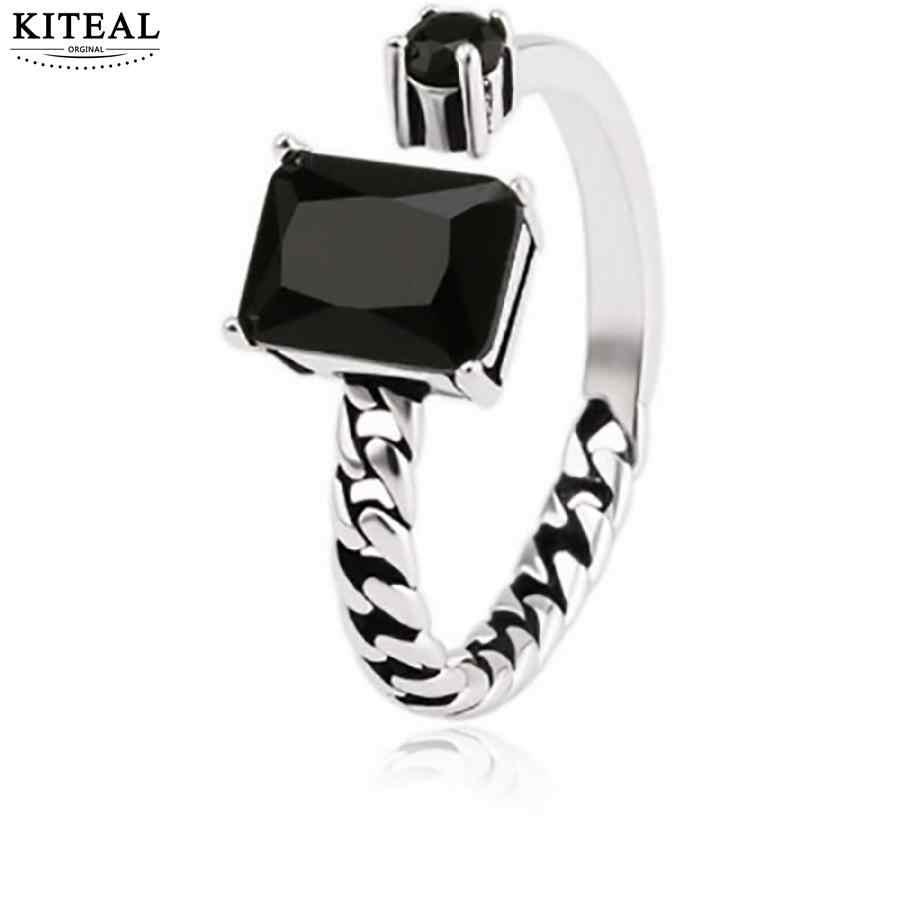 Kiteal Vintage 925 Perhiasan Perak Hitam Suqare Permata Asimetris Rantai Buka Thai Cincin Perak untuk Wanita Anel S-R76