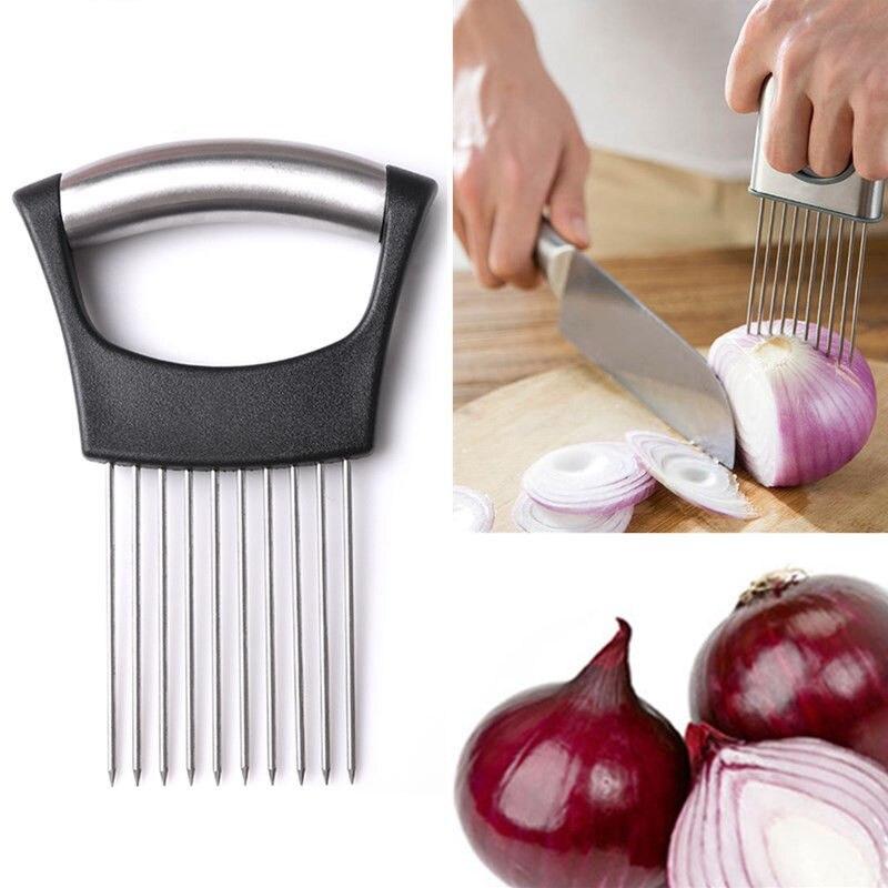 nuevo titular de cortadora de hortalizas de tomate cebolla cortador de acero inoxidable para utensilios de