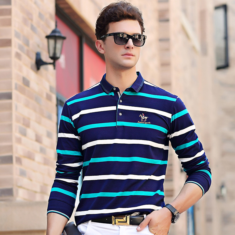 Brand Clothes 2017 Autumn Casual Green Men's   Polo   Shirts Wide White Striped Cotton Long Sleeve Shirt Tops Tees Clothes
