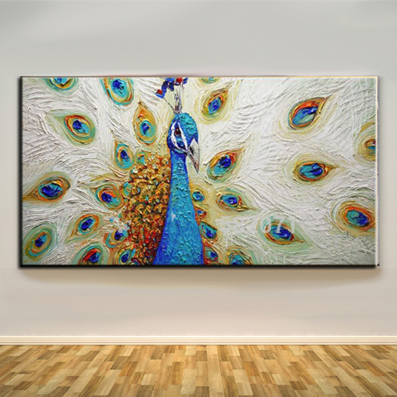 Modern Canvas Art Pictures Hand Painted Abstract Animal Peacock Oil Paintings Large Knife Peahen Painting Home Decor Wall Arts