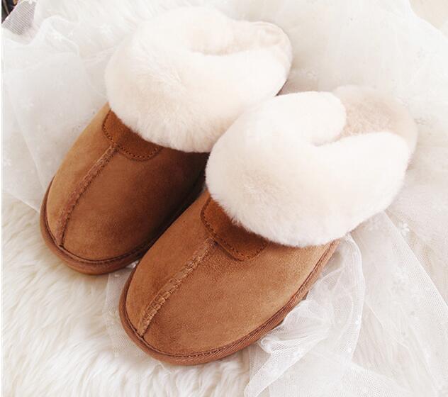 Natürliche kuh leder Fell Hausschuhe Mode frauen Winter Hausschuhe Frauen Warme Hausschuhe Top Qualität Weiche Wolle Dame Hause Schuhe