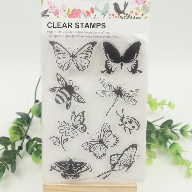 1 sheet DIY Butterfly and Bee Transparent Clear Rubber Stamp Seal Paper Craft Scrapbooking Decoration kitlee40100quar4210 value kit survivor tyvek expansion mailer quar4210 and lee ultimate stamp dispenser lee40100