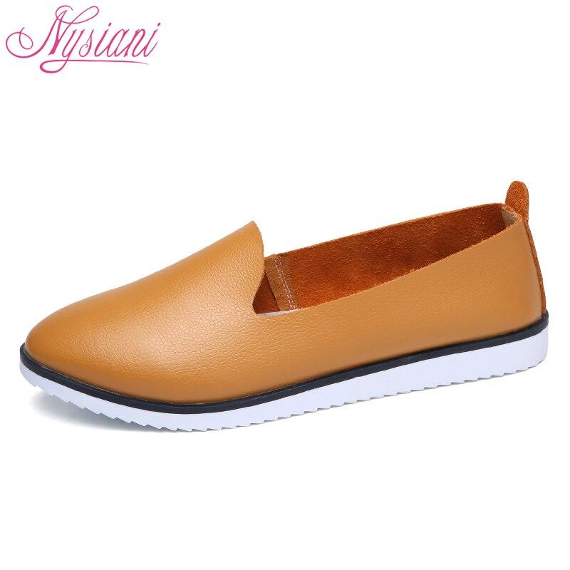 2018 Разделение кожаные оксфорды на плоской подошве Обувь для Для женщин Новинка весны Slip-On круглый носок Колледж Повседневное Модные женские мокасины без шнурков Nysiani