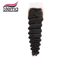Free Shipping U Part 4X4 Swiss Lace 7A Unprocessed Brazilian Virgin Hair Silk Base Frontal Deep Curly Closure Rosa Hair Products