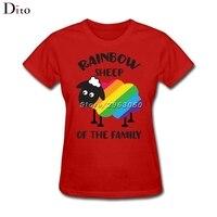 Радуга Овцы Семья ЛГБТ топы, футболки Для женщин Забавный обычай Изделие из хлопка с короткими рукавами футболки
