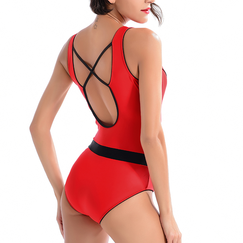 sexy cheap vintage brand solid red racer back across zipper hot patchwork sporty one piece wire free women swimwear new swimsuit