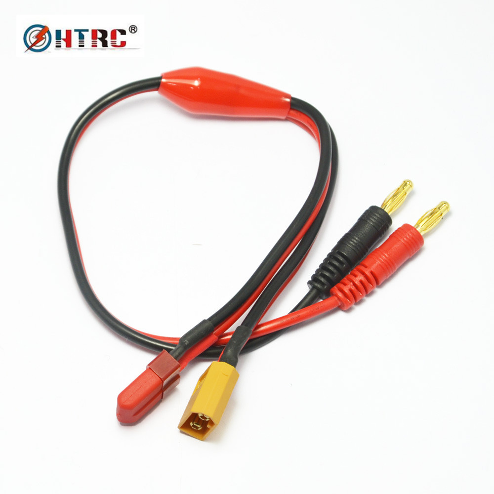 HTRC Lipo Battery Charge cable with XT60 male connector & Deans T-plug for imax B6 B6AC charger with 4mm Banana Bullet Plug