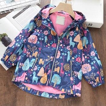Bear Leader Girls płaszcze nowa jesienna kurtka dla dzieci pełna rękaw z czapką Zipper płaszcze dla dzieci Floral Girl odzież dla dzieci urocze ubranka