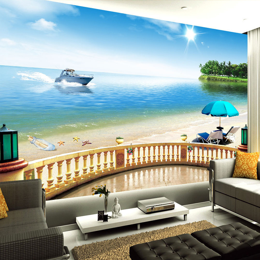 Custom Photo Wallpaper Modern 3D Stereo Space Mural Balcony Beach Living Room Bedroom TV Background Wall Painting Art Wallpaper проекторы vivitek qumi q5 red